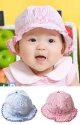 หมวกสาวน้อยลายทาง ด้านหน้าแต่งหูกระต่ายเล็กๆ น่ารัก
