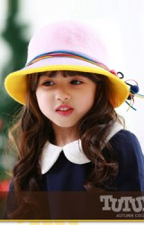 หมวกเด็กหญิงสีสันสดใส คาดโบว์สวยๆ