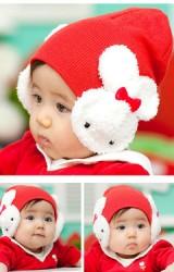 หมวกสาวน้อยแต่งกระต่ายขาวปิดหู
