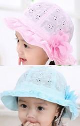 หมวกเด็กหญิงผ้าฉลุลายดอกไม้ ปีกหมวกระบายลูกไม้