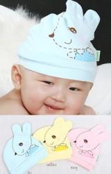 หมวกเด็กเล็กหน้ากระต่าย แต่งหูน่ารัก