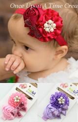 สายคาดผมเด็กหญิงริบบิ้นดอกกุหลาบแต่งโบว์น่ารัก