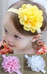 สายคาดผมเด็กหญิง แต่งดอกไม้ใหญ่ กลีบดอกฉลุ