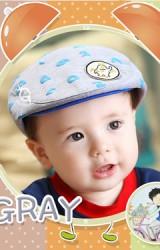 หมวกแฟลตแค๊ปรูปตัวเลขและนาฬิกา แต่งรูปหมีด้านหน้า