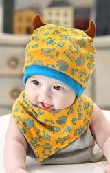เซ็ตหมวกเด็กพร้อมผ้ากันเปื้อนลายมอนสเตอร์แต่งเขา จาก GZMM