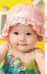 หมวกเด็กหญิงลูกไม้สวย ชายระบาย พร้อมแต่งโบว์ด้านหลัง