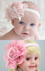 สายคาดผมเด็กหญิงดอกกุหลาบแต่งโบว์และสายมุกเทียม