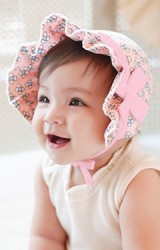 หมวกเด็กเล็กลายดอกไม้คาดโบว์น่ารัก