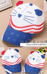 หมวกแก๊ปแมวแต่งหูน่ารัก ปีกหมวกสกรีนดาวแต่งสายคาดขาว
