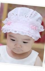 หมวกเด็กหญิงผ้าฝ้ายลายฉลุ แต่งลูกไม้ด้านหน้า