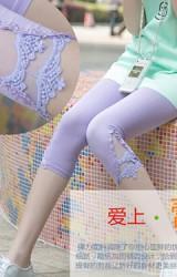 กางเกงเลคกิ้งคนท้อง ขา 4 ส่วน ด้านข้างแต่งเชิงลูกไม้สวยหวาน