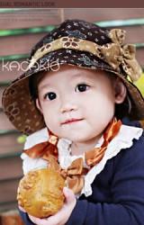 หมวกเด็กหญิงผ้าลูกฟูกแบบบางพิมพ์ลายดอกไม้สวย แต่งคาดโบว์น่ารัก kacakid