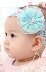สายคาดผมเด็กหญิง ดอกไม้ผ้าชีฟองแต่เกสรกระดุมมุก สายคาดผ้าลูกไม้ยืด
