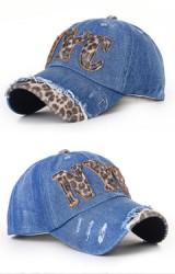 หมวกแก๊ปยีนส์ผู้ใหญ่ แต่งลายเสืออักษร NYC และช่วงปีกหมวก