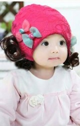 หมวกปอยผมผ้าลูกไม้แต่งโบว์คู่น่ารัก ด้านในมีซับ