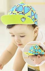 หมวกแก๊ปเด็กลายสตรอเบอร์รี่น่ารักๆ ด้านหลังเว้า