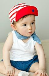 หมวกแก๊ปเด็กลายขวางลายรูปดาว ปีกหมวกด้านในสีพื้น