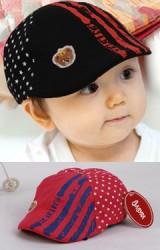 หมวกแฟลตแค็ปเด็ก ด้านหน้าลายเส้นกราฟิก ด้านหลังลายดาว