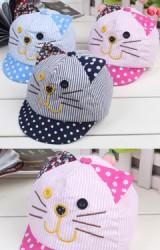 หมวกแก๊ปแมวลายทาง ปีกหมวกลายจุด แต่งหูน่ารัก