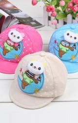 หมวกแก๊ปเด็กเนื้อผ้าฝ้ายแต่งรูปหมีและพระจันทร์