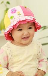 หมวกเด็กหญิงแต่งดอกไม้กลมน่ารัก ปีกหมวกระบาย 2 ชั้น