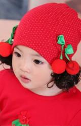 หมวกปอยผมสีแดงลายจุดแต่งเชอรี่