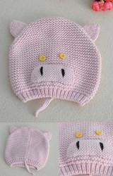 หมวกหมูสีชมพูนู๊ด หมวกถักสไตล์น่ารักๆ