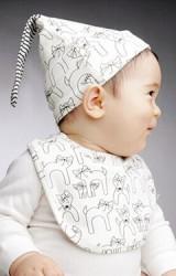 เซ็ตหมวกเด็กเล็กมาพร้อมผ้ากันเปื้อนลายแม่แมวและลูกๆ