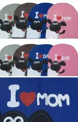 หมวกเด็ก I LOVE MOM และ I LOVE DAD สกรีนรูปแกะ