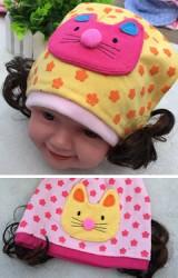 หมวกปอยผมผ้ายืดลายดอกไม้ แต่งหน้าแมว