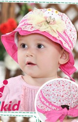 หมวกเด็กหญิงลายดอก ด้านหน้าแต่งกระต่าย
