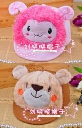 หมวกแก๊ปผ้าลูกฟูกแต่งหน้ารูปหมีและแกะ