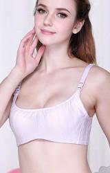 เสื้อในให้นมสีม่วงอ่อนผ้าลายทางในตัว แบบมีโครง เสริมฟองน้ำ