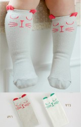 ถุงเท้าเด็กหน้าแมวแบบยาว ไม่มีกันลื่น