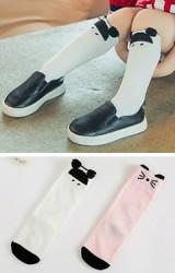 ถุงเท้าเด็ก สีขาวลายหนู สีชมพูลายแมวแบบยาว ไม่มีกันลื่น