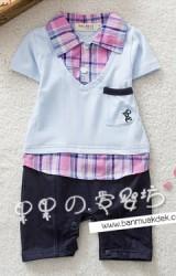 ชุดจั๊มสูทเด็กชาย ตัวเสื้อคอปกเชิ็ตลายสก๊อต