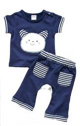 ชุดเด็กเซ็ต 2 ชิ้น เสื้อยืดแขนสั้น มาพร้อมกางเกงขายาวแต่งรูปสัตว์น่ารัก