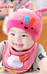เซ็ตหมวกเด็กเล็กมาพร้อมผ้ากันเปื้อนลายกระต่าย สกรีน I Love Mom & Dad