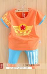 ชุดเด็กเซ็ต 2 ชิ้น เสื้อสกรีน CALIFORNIA กับ กางเกงสีฟ้าลายเข้าชุดกัน