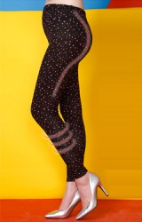 กางเกงเลกกิ้งคลุมท้องขายาวสีดำลายดาวชมพู