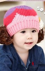 หมวกไหมพรมเด็กแต่งปอยผม หมวกทอไล่สีแต่งดอกไม้เล็กๆ GZMM