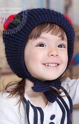 หมวกไหมพรมเด็กตาแมว ด้านบนแต่งปอมปอมเล็ก GZMM