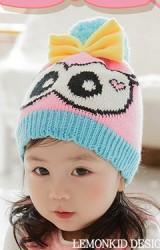 หมวกไหมพรมเด็กสาวน้อยตาโตแต่งโบว์น่ารัก Lemonkid