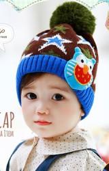 หมวกไหมพรมเด็กลายดาวแต่งนกฮูก  Lemonkid