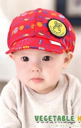 หมวกแก๊ปเด็กลายผัก ด้านหน้าแต่งรูปกระต่าย GZMM