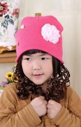 หมวกเด็กหญิงปอยผมยาวประบ่า  แต่งดอกไม้น่ารักๆ