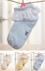 ถุงเท้าเด็กหญิง แต่ระบายขอบผ้าฉลุสีขาว
