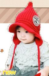 หมวกไหมพรมเด็กปลายหมวกแหลมมีปีกด้านหน้า BIKABIKA