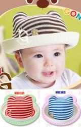 หมวกเด็กแบบมีหู ลายขวาง ด้านหน้าแต่งรูปหมี GZMM