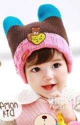 หมวกไหมพรมมีเขาพับขอบ  ด้านหน้าแต่งรูปหมี  Lemonkid